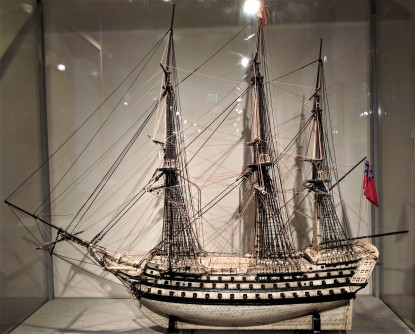 "From the 1600's, a bone ship model of Horatio Nelson's ""Victory"""