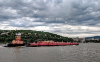 West Point and an enormous barge