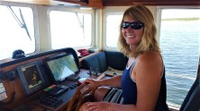 Niki in the pilothouse