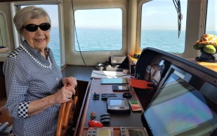 Shirley at the helm