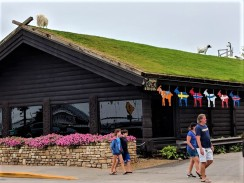 Goats on restaurant roof in Sister Bay