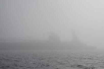 This ghost ship didn't call us and was not sounding his horn every two minutes (the fog signal) either. But we saw him on radar and gave him plenty of room.