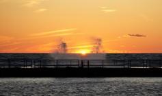 Michigan breakwater waves